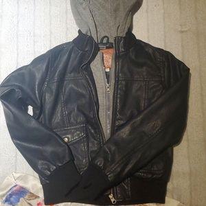Kids size 10/12 faux leather hooded jacket.